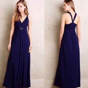 Anthropologie | Navy Braided Waist Maxi